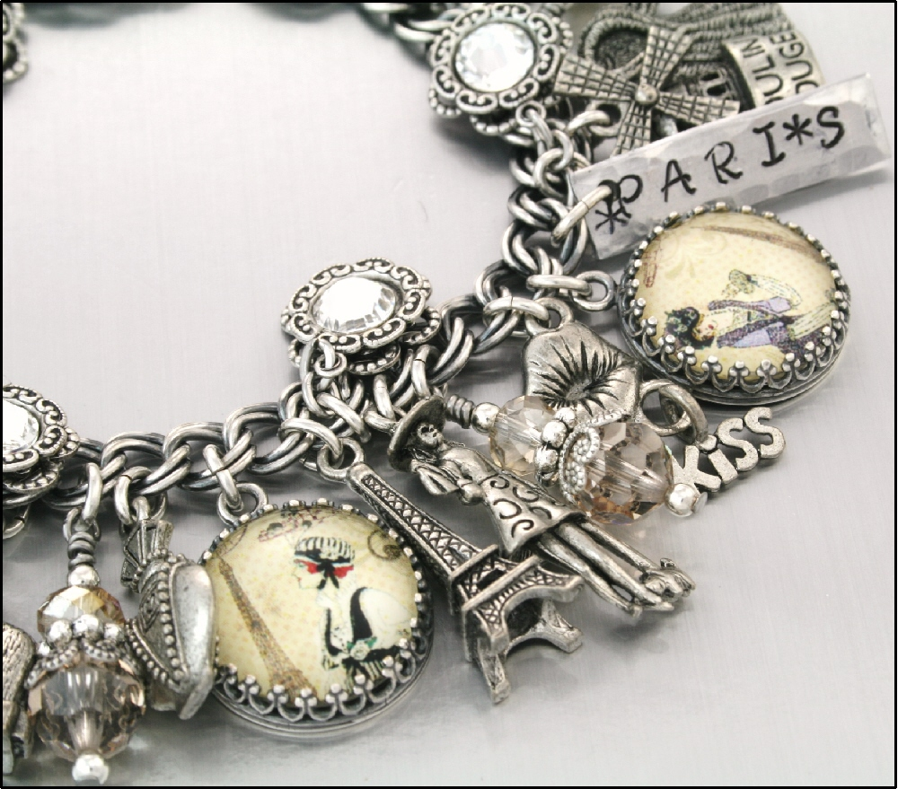 French Vintage Charm Bracelet, Silver Charm Jewelry, Oh La La Paris On  Luulla